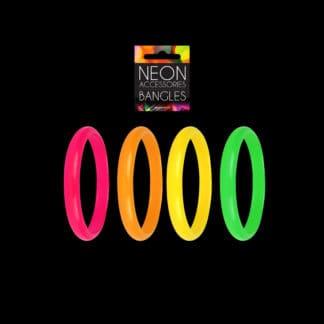 Neon coloured bracelets 4 pack pink orange green yellow 4 pack pride festivals 80's disco dress up