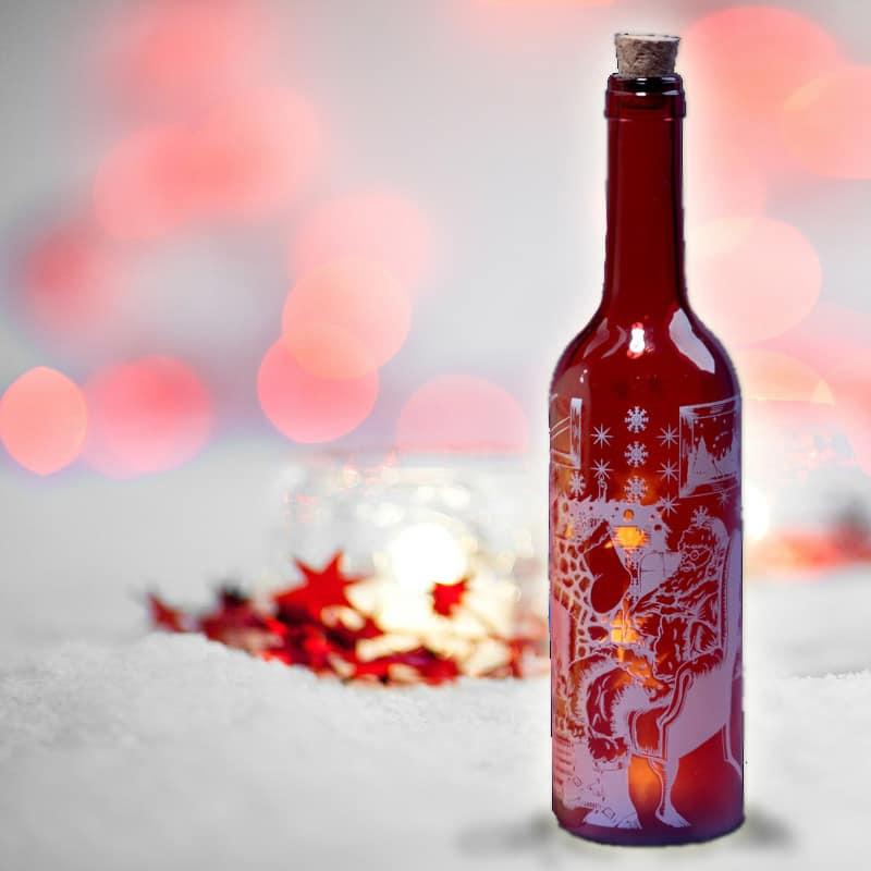 Christmas Santa Decorative Bottle With Led Lights Glowtopia