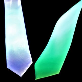 UV REACTIVE GLOWING TIES WHITE GREEN