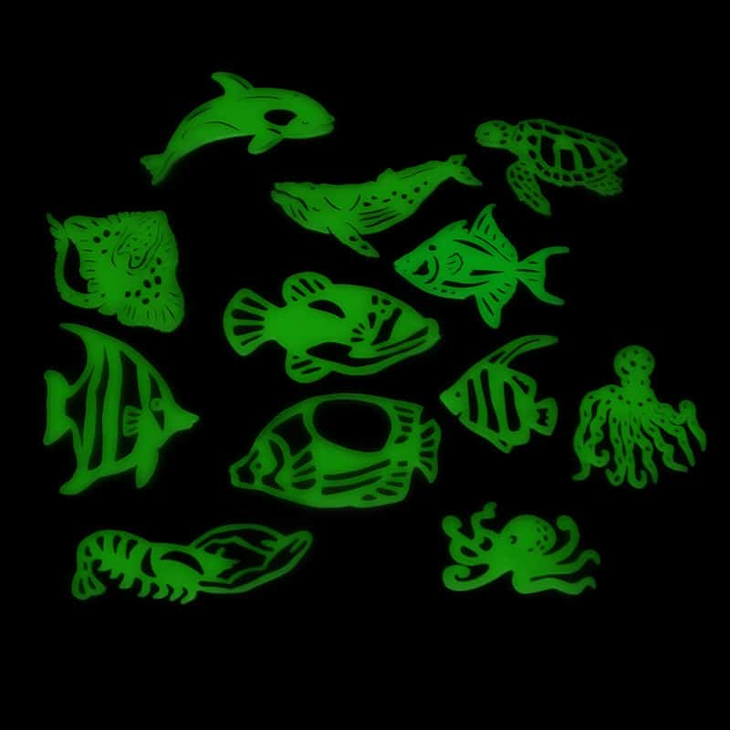 glow in the dark fish and sea creatures wall stickers | glowtopia