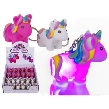 LED Pink Unicorn Keyring